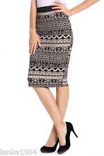 Izabel Tribal Print Black & beige long Shift Skirt (NEW) Diff Sizes