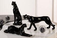 LEOPARD SCHWARZ mit Halsband Porzellan Dekoration Figur Skulptur Panther Gepard