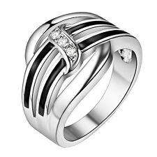 eleganter Ring mit 3 Steinen Damen 925 Sterling Silber plattiert edel stylisch