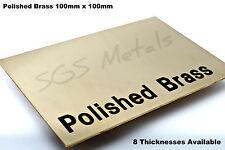 100 x 100 mm - Polished Brass Sheet Plate Shim 0.9 1.2 1.5 2.0 2.5 & 3.0mm Thick