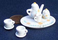 1:12 SCALA 8 PEZZI DI CERAMICA BIANCA Casa delle Bambole Tè Set con un motivo floreale CF93