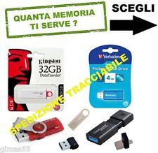 MEMORIA PEN DRIVE CHIAVETTA USB Kingston Verbatim 4GB 8GB 16GB 32GB 64GB 128GB