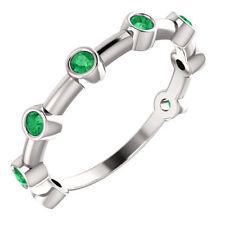 Emerald Bezel Set Bar Ring In Platinum