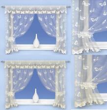 De Lujo Mariposa Encaje Net Cortinas Ventana conjunto en marfil y blanco Tiebacks incluidos