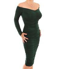 New Off the Shoulder Figure Hugging Ruched Dress