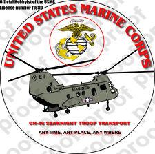 STICKER USMC VET CH 46 SEAKNIGHT HELICOPTER