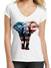 Junior's American Elephant White V-Neck T-Shirt USA Flag July 4 Wildlife B746