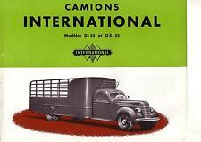 Catalogue CAMION  D35  DS35 INTERNATIONAL  IH  Mac Cormick prospekt Truck  LKW