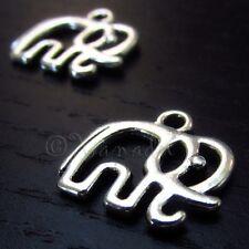 Elephant Wholesale Antiqued Silver Plated Charm Pendants C7898 - 10, 20 Or 50PCs