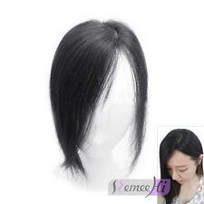 100% Human Hair Topper Hairpiece Top Piece Silk Straight Natural Black 9*10cm
