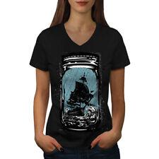 Pirate Ship Jam Jar Women V-Neck T-shirt NEW | Wellcoda