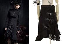 Jupe asymétrique gothique punk lolita fashion volants sangles dentelle Punkrave