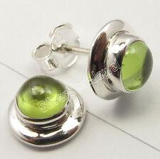 """925 Sterling Silver Dazzling GREEN PERIDOT RICHFEEL Studs Post Earrings 0.4"""""""