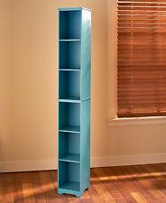 Slim Wood Storage Tower TEAL MIST Cabinet or Baskets Bathroom Kitchen Apartment