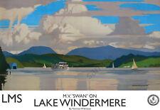 Boat M.V. SWAN on Lake Windermere VINTAGE RAILWAY POSTER Travel Advert ART PRINT