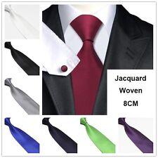 Mens 8CM JACQUARD WOVEN silk TIES Plain Wedding Necktie Formal Casual Solid ties