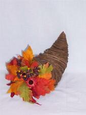 Wicker CORNUCOPIA Centerpiece Horn of Plenty THANKSGIVING Autumn Silk Floral NWT