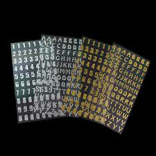 (8) Sticker Aufkleber Zahl Zahlen Ziffer ABC Buchstaben gold silber