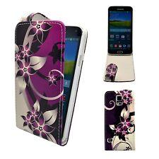 viola e panna fiore stampato Flip custodia in similpelle per Samsung Galaxy S5