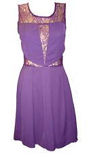 Womens Ladies New Simple Black & Purple Lace Mesh Dress (Sizes 8 - 16)ST 30356