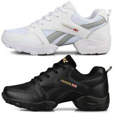 Mens 100% leather Chunky Split Sole Modern Jazz Dance Sneakers Ballroom Shoes