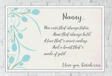 Nanny Poem Christmas Gift Nan Grandma Granny Personalised Print Birthday