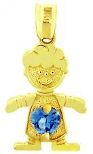 Fine Yellow Gold March Birthstone Aquamarine Blue CZ Baby Boy Charm Pendant