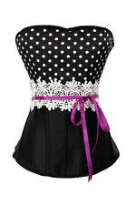 Corset burlesque pinup noir pois décoré crochet violet fermeture eclair zip