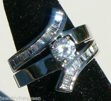 Engagement Band Wedding Ring set 18K Gp 2 pcs 1.46 ctw Cz Cubic Zirconia Bridal