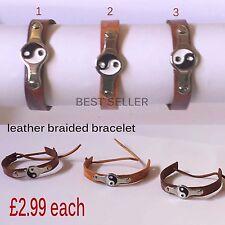 New Handmade Leather Colourful Friendship Adjustable Bracelets UK Seller