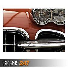 CORVETTE C1 CONVERTIBLE (AA987) CLASSIC CAR POSTER - Poster Print Art A1 A2 A3
