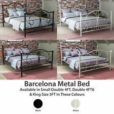 Metal Bed Double King Size Frame 4FT 4FT6 5FT Mattress Black White Barcelona