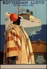 Tx231 Vintage Rotterdam Lloyd Egipto Java Envío un crucero Cartel a2/a3/a4