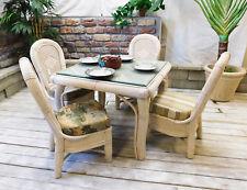 Brand New All Natural Whitewash Wicker Cancun Square Dining/Bridge Set