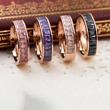 Black/Purple/White/Pink CZ Band Men Women's Titanium Steel Rose Gold Filled Ring
