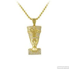 Gold Iced Out Mini Queen Nefertiti Tupac Pendant Chain