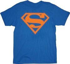 Superman Orange Shield Logo Blue Adult T-shirt Tee
