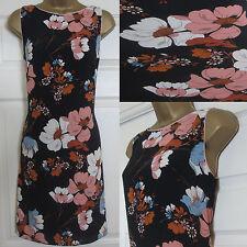 NEW EX F&F Ladies Floral Print Sleeveless Shift Summer Dress Black Pink Sz 6-20
