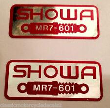 Honda RC30 VFR750R HORQUILLA FRONTAL SHOWA ADVERTENCIA DE PRECAUCIÓN ETIQUETA calcomanías X 2
