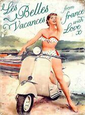 Tin Sign Vespa Les Belles Vacances Cream 30 x 40cm