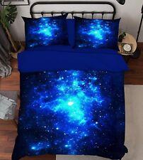 3D Blue Starry Sky 99 Bed Pillowcases Quilt Duvet Cover Set Single Queen King CA