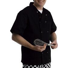 Veste Chefs en polycoton manches courtes boutons-pression de restauration noir cuisine cuisiniers