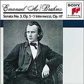 1 cent cd - BRAHMS - Sonata #3 in F Minor Intermezzi -classical piano EMANUEL AX