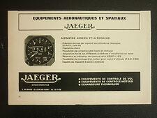 6/1969 PUB PAPIER JAEGER ALTIMETRE ALTICODEUR EQUIPEMENT AERONAUTIQUE ESPACE AD