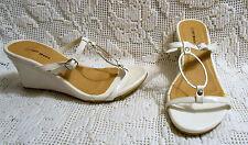 TOP MODA womens slide sandals white patent buckle wedge heels