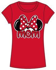 Disney Mom Red Ears Minnie Mouse Junior Women Fashion Top Tee T-shirt