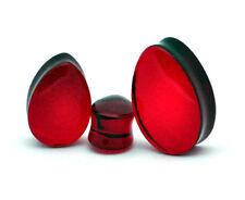 Pair of Red Glass Teardrop Plugs set ear gauges Pick Size