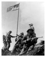 WWII Silver Halide Photo US Marines Flag Raising Mount Suribachi Iwo Jima #2-V1