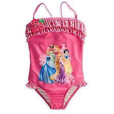 Ruffled Multi Princess Swimsuit 1pc Cinderella Rapunzel Snow Disney Store Pink