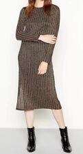 Ex Debenhams Red Herring Metallic Stripe Party Occasion Midi Dress Size 10-18
